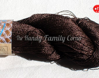 "Dark chocolate (667) viscose Silk Yarn: Shining, Superfine / Lace weight, bright crochet yarn. Yarn ""ajur"". open-work openwork Eq"