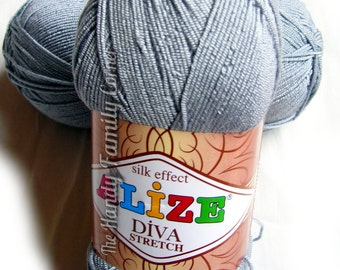 Alize Diva Stretch - elastic springy yarn. Color silver gray, grey. (253) Spandex yarn, stretchy yarn. Lycra Elastan bikini yarn.