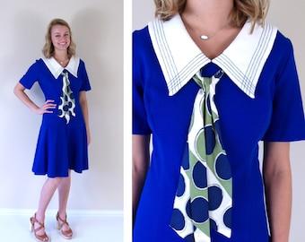 vtg 60s royal blue ASCOT stewardess SCOOTER DRESS go go Large mod Twiggy dolly space age full skirt neck tie polka dot collar drop waist