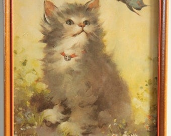 Florence Kroger Framed Kitty Cat Butterfly Print