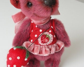 Hand made Collectable artist mini teddy bear stuffed animal OOAK Severia