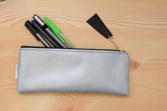 Leather pencil case,leather pencilcase,leather pouch,silver leather,silver pencil case, leather case,leather coin purse,silver pencil case
