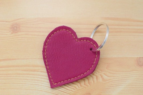 Leather keychain, leather keyring,heart keychain, heart keyring,pink heart keychain,pink heart keyring,pink heart leather,leather heart
