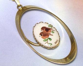 Antique Retro Old Hand Painted Ceramic Pendant Vintage Bird Necklace, vintage bird pendant, antique bird pendant, kiln fired ceramic, KOHL