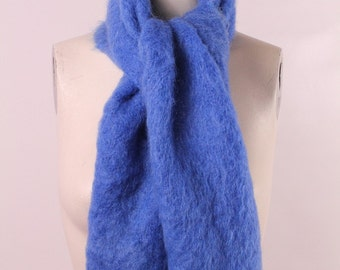 Vintage 60s Alexanders Blue Mohair Wool Knit Scottish Winter Scarf Made in Scotland