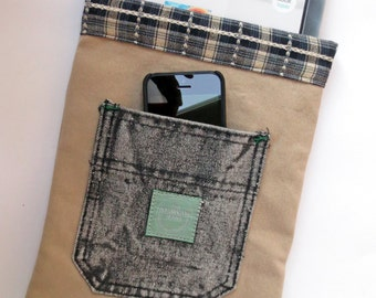 Black and Tan Denim Bag for Full-size iPad, Kindle Fire HDX, Large Tablets