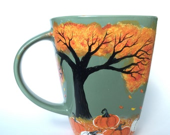 Fall Leaves and Pumpkins Coffee Mug - fall decor - pumpkin patch - fall - unique coffee mug - coffee gifts - white pumpkins - pumpkin spice
