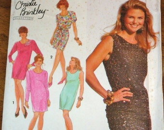 Simplicity 7613 Christie Brinkley Sheath Evening Dress Womens Misses Vintage Sewing Pattern Size 12 14 16 Bust 34 36 38 Uncut Factory Folds
