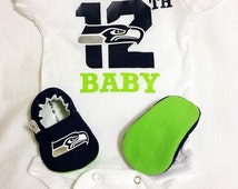 Seahawks Baby Booties and Seahawks 12th Baby Onesie - Handmade