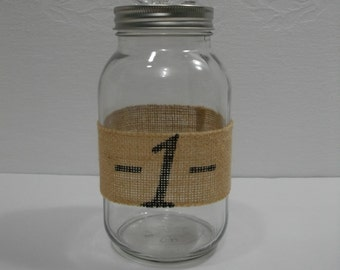 Mason Jar / Burlap #1 and Flower Decorated Mason Jar / Upcycled Recycled Repurposed Mason Jar Apothecary Jars / Quart Mason Jar