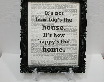 Book Page Print / It's Not How Big The House... /  Recycled Vintage Bible  Book Page Art / Wall Decor / Recycled Book Page