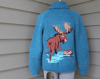vintage Mid-Century cowichan style sweater. Moose - front & back. 3 dimensional quality. Very thick. Large / 42. Lebowski-esque.