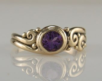 R1014- 14ky Gold Amethyst Ring- One of a Kind