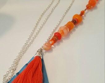 Super Sunny Long Orange Necklace, Glass Beads, Vintage Metal Charm, Orange Tassel