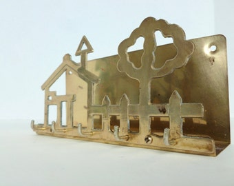 Brass Key Rack and Letter Holder Wall Mounted Organization Storage House, Fence, Tree Design