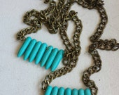 turquoise spike row necklace