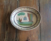 Vintage Tlaquepaque Mexican Folk Art Pottery Charger Tray Bowl Platter
