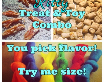 Cat Treats & Toy Combo Pack - 1/2 bag of treats plus 3 catnip toys - you pick treat flavor - Try Me Size - Sample size