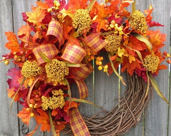 Fall Wreath, Fall Berry Wreath, Fall Leaves and Berries, Fall Plaid Bow, Bright Halloween Thanksgiving Harvest Wreath