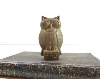 Vintage Brass Owl Advertising Paperweight, Owl Figurine