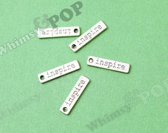Tibetan Silver INSPIRE Tag Charms, Inspire Text Word Charms, 23mm x 5mm (R8-180)