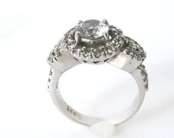 White sapphires silver engagement ring