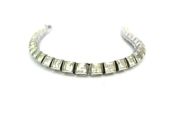 Art Deco Bracelet. Dorsons Crystal Line Bracelet. Rhodium Sterling Silver. Channel Set Rhinestones. 1940s Vintage Special Occasion Jewelry