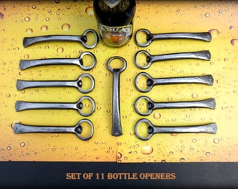 11 GROOMSMEN GIFTS Bottle Openers - Personalized Option Available - Hand Forged by Naz - Gifts for Groomsmen Ushers  Engagement  Gift  Men