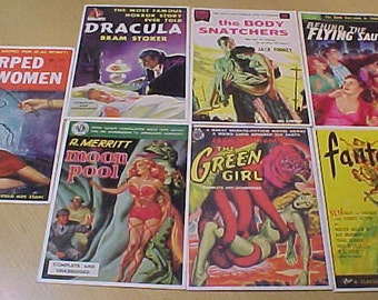 Postcards of paperback and pulp fiction books vintage 1995 lot of 7