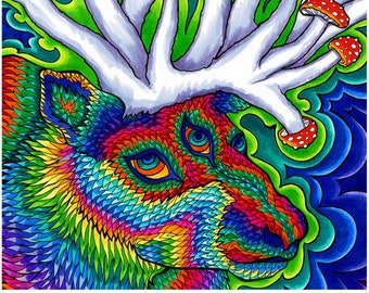 Soma Mandala Print (Psychedelic Colorful Trippy Rainbow Third Eye Reindeer Mandala with Red and White Fly Agaric Mushroom Antlers)