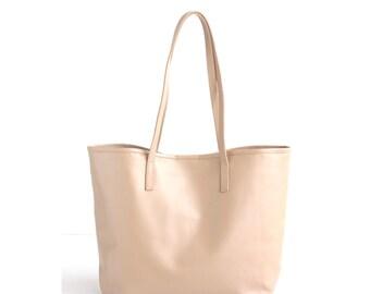 JAIMEE Nude Leather Tote bag. Beige Leather Bag. Tote Zipper Bag. Leather Hangbag. Women Handbag. School Tote Bag. Leather CarryAll