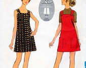 1960s Mini Dress Pattern Style 2687 Vintage Sewing Pattern A-Line Easy to Sew Short Sun Dress with Square Neckline Bust 34
