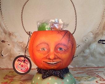 Folk Art  Original Jack o lantern pumpkin Halloween Primitive Vintage Style Art container Hafair Penny Grotz