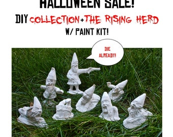 Halloween Sale! DIY Zombie Gnomes: Collection and Rising Herd (8 Zombie Gnomes)