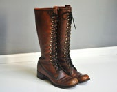 Vintage Frye Lace Up Huntress Boots - Size 8A or 7 1/2