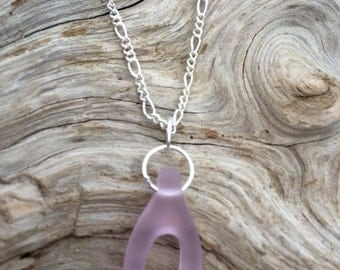 Pink Sea Glass Wishbone Necklace