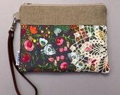 Vintage Doily Leather Wristlet Grey Floral