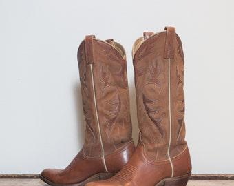 6 1/2 C | Women's Dan Post Brown Inlay Western Cowboy Boots Made in Spain