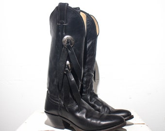 6.5 M | Chippewa  Harley Davidson Black Leather Motorcycle Boots Tassel Sides