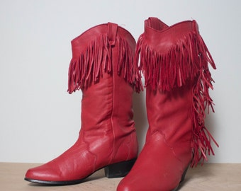 7 M | Dingo Fringe Western Boots Women Red Leather Cowboy Boots