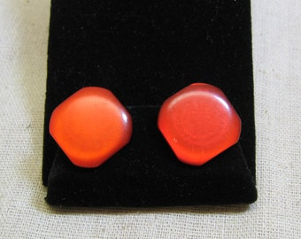 Vitnage Red, Red, Red, 1960s Moonglow Plastic Clip On Earrings