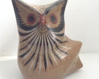 Vintage Tonala, Mexico OWL.  Burnished Pottery Owl.  Modernist Ceramic figure. Folk Art, Jalisco.  1960's.  Mod Kitsch