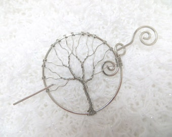 Silver Tree of Life Pin, Silver Shawl Pin, Tree of Life Hair Pin, Silver Tree of Life Hair Accessory, Wire Shawl Pin