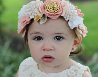 Wool Felt Flower Crown in Off White,Vintage Pink,and Gold-Flower Headband-Baby Headband-Hair Accessories-Baby Shower Gift-Girls Flower Crown