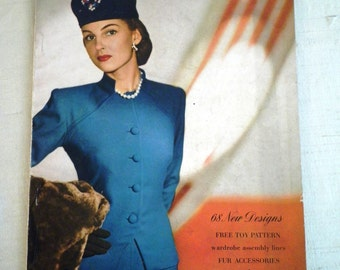 1940's Vintage Vogue Pattern Book December-January 1944-45 Complete Original Fashion History