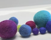 """Assorted Wool Felt Balls 100% Nepal Wool Balls Exclusive for Embellishments Theme = Cool 16/Pkg Sizes 1/2"""" to 1.5"""" (1.27cm to 3.81cm)"""
