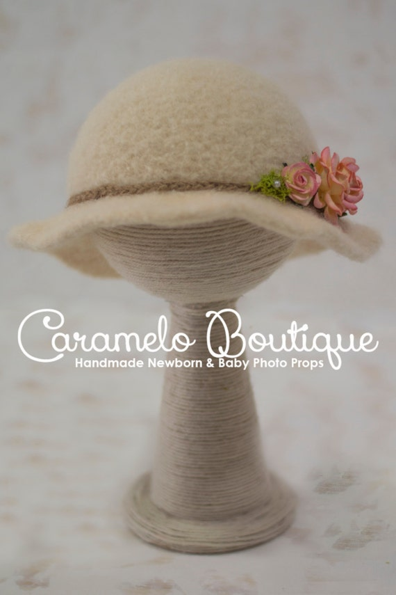 RTS Millinery Inspired Baby Girl Brim Hat-Felted Baby Girl Bowler Hat-Millinery Inspired Newborn Hat-Newborn Photo Prop-Baby Girl Bowler Hat