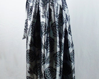 Vintage GUY LAROCHE GALA  Maxi Gown Skirt With Matching Sash  Ballon Party Full Length Silver and Black sz 36 Deadstock