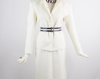 Sale Vintage GIANNI VERSACE VERUS Bone 2 Pc White Skirt Suit with Matching Belt Size 44