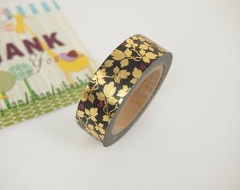 Golden leaf pattern Washi Tape (10M)